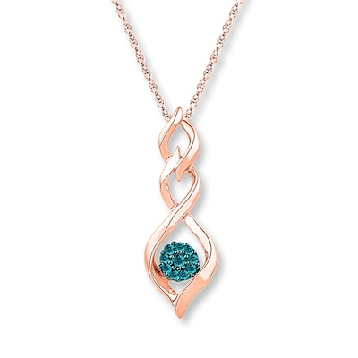 Blue Diamond Necklace 1/10 ct tw Round-cut 10K Rose Gold