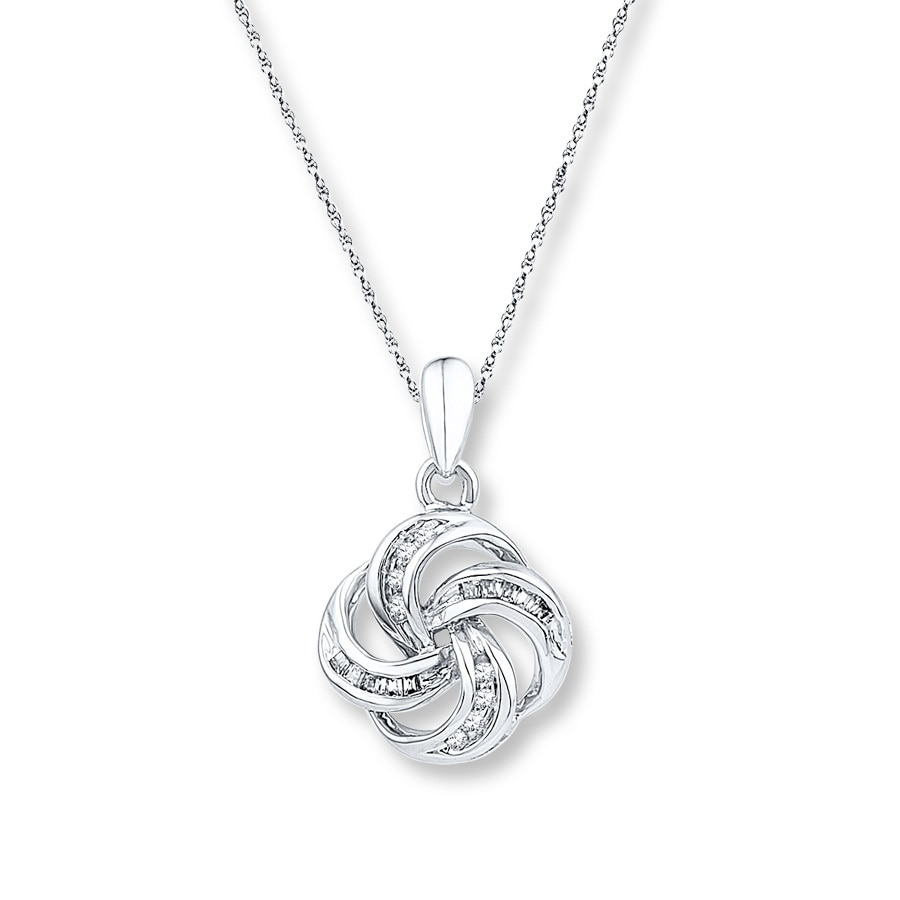Love Knot Necklace 1 10 Ct Tw Diamonds Sterling Silver