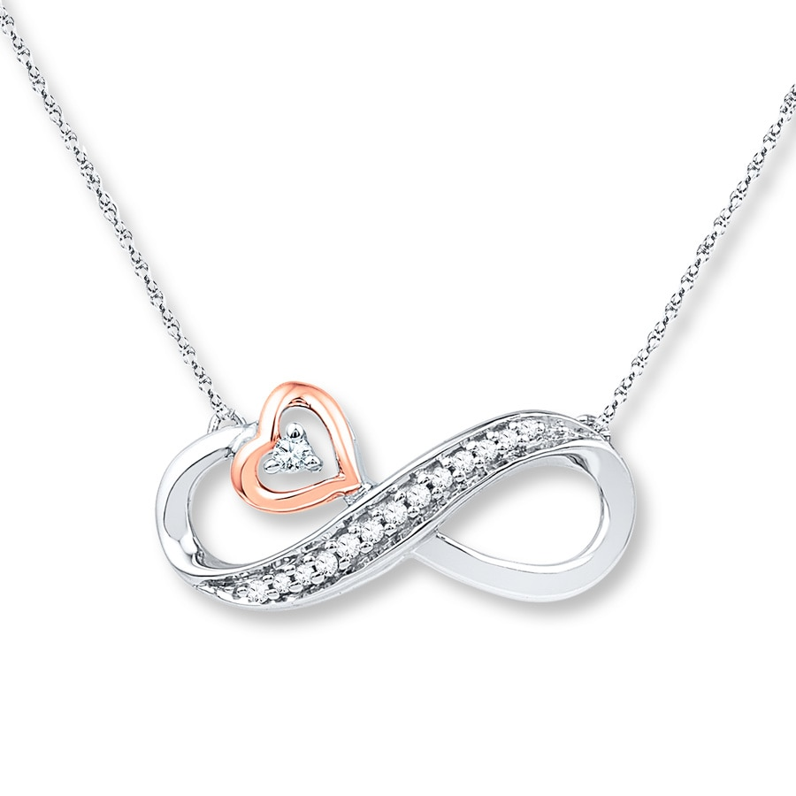 Infinity Necklace 1 20 Ct Tw Diamonds Sterling Silver 10k