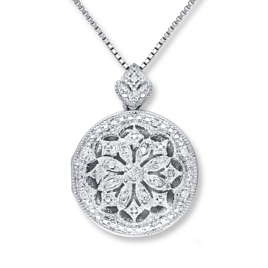 Locket Necklace 1 10 Ct Tw Diamonds Sterling Silver