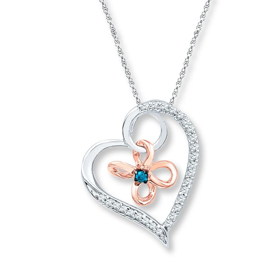 Artistry Diamonds Diamond Heart Necklace 1/10 ct tw Blue/White Silver/10K Gold qEzBfLt1s