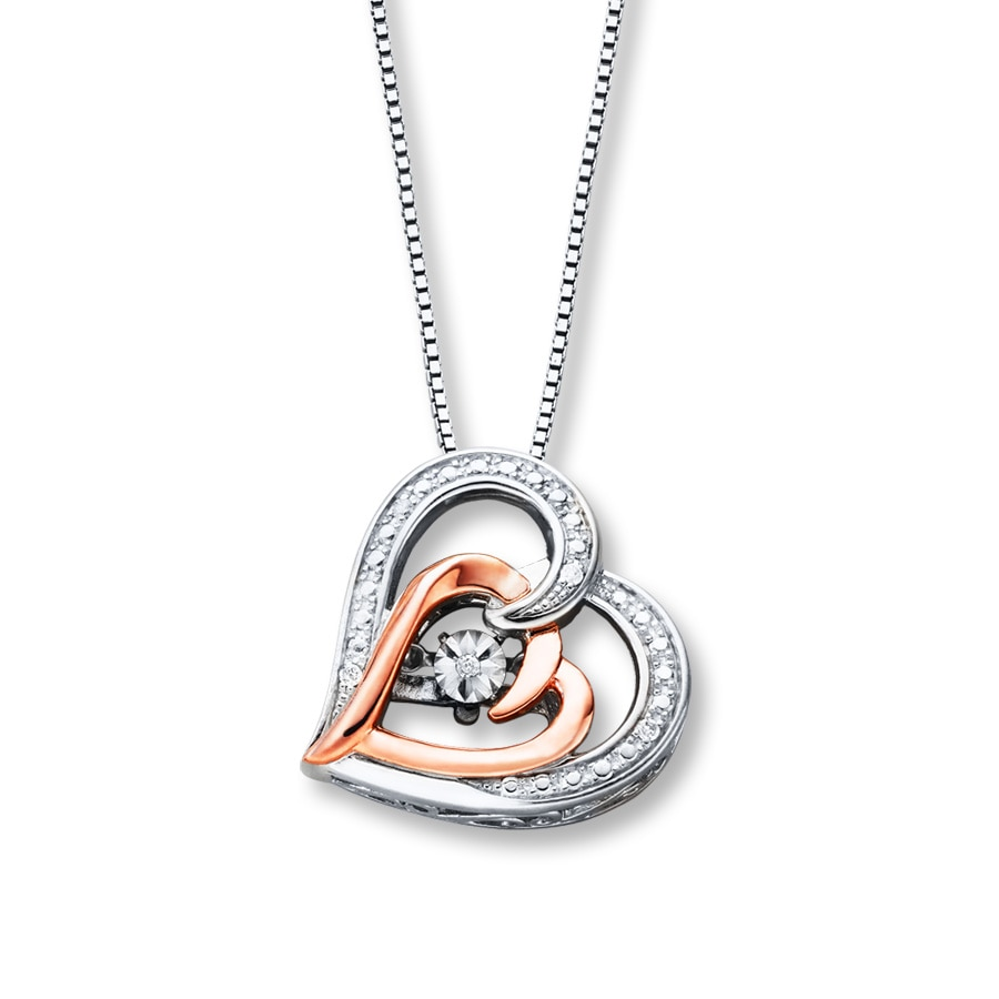 52275c6ae Diamonds in Rhythm Heart Necklace Sterling Silver/10K Gold. Tap to expand
