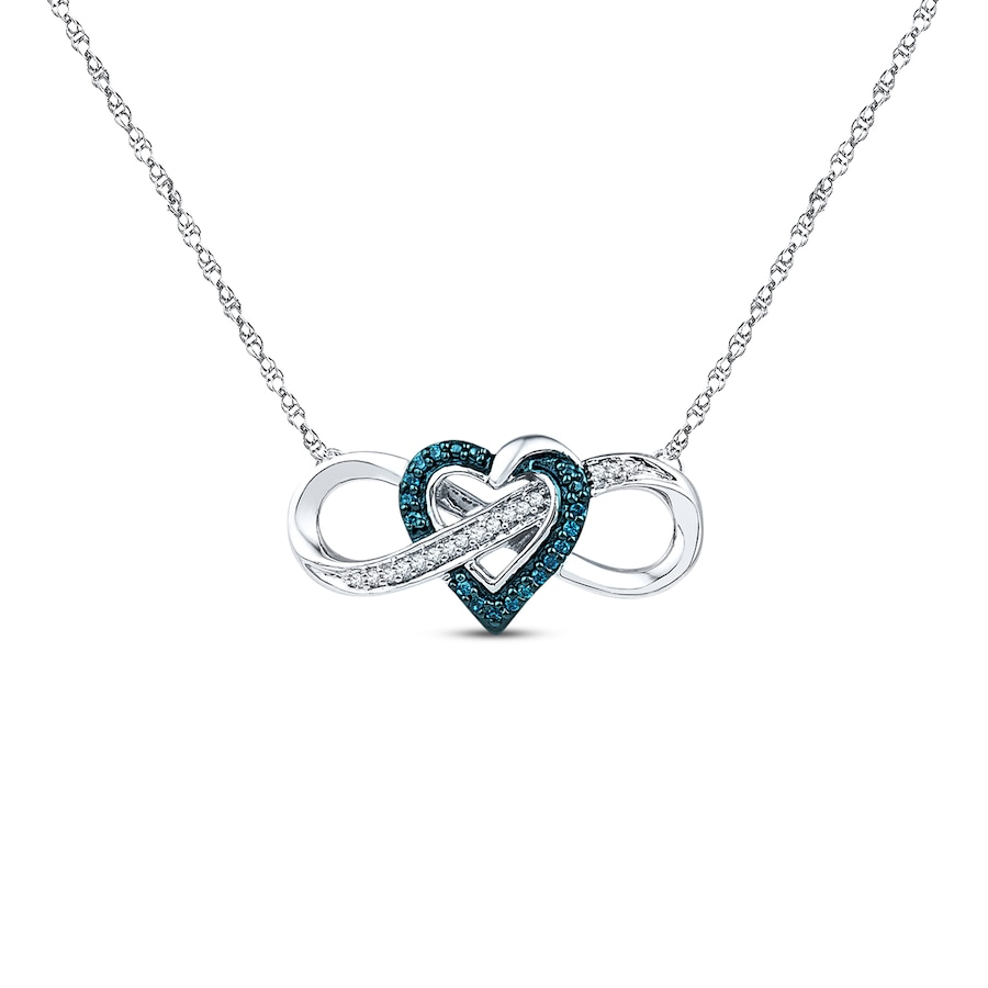 Heart Infinity Necklace 1 10 Ct Tw Diamonds Sterling