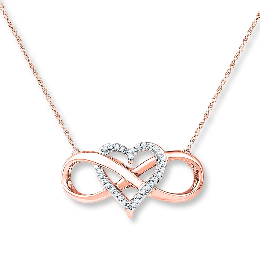 Heart Infinity Necklace 1 10 Ct Tw Diamonds 10k Rose Gold