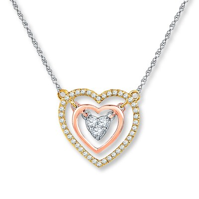 Diamond Heart Necklace 1/5 ct tw Round-cut 10K Tri-Color Gold