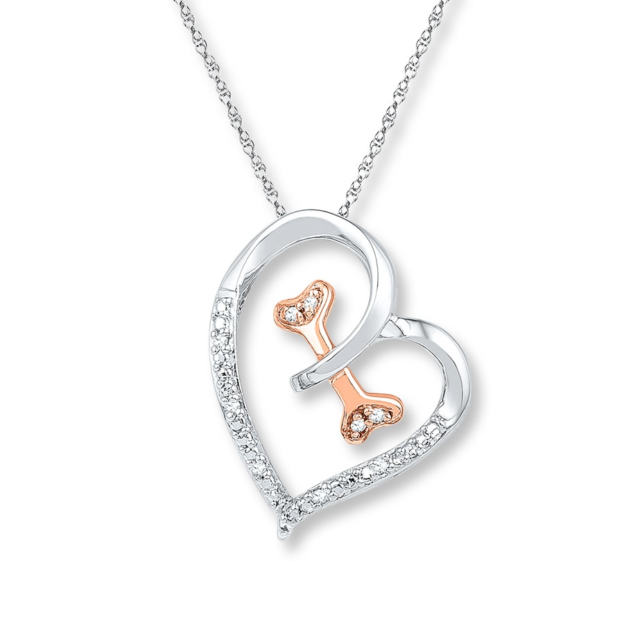 Kay heart dog bone diamond necklace sterling silver10k gold hover to zoom aloadofball Gallery
