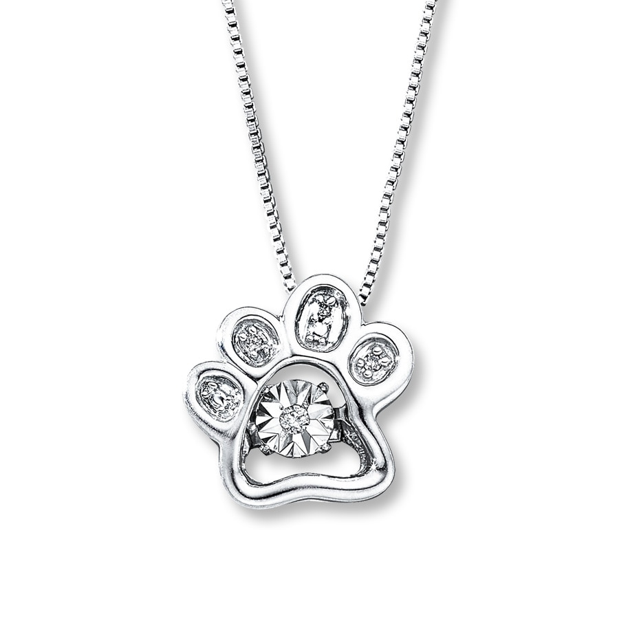 dog paw necklace diamond