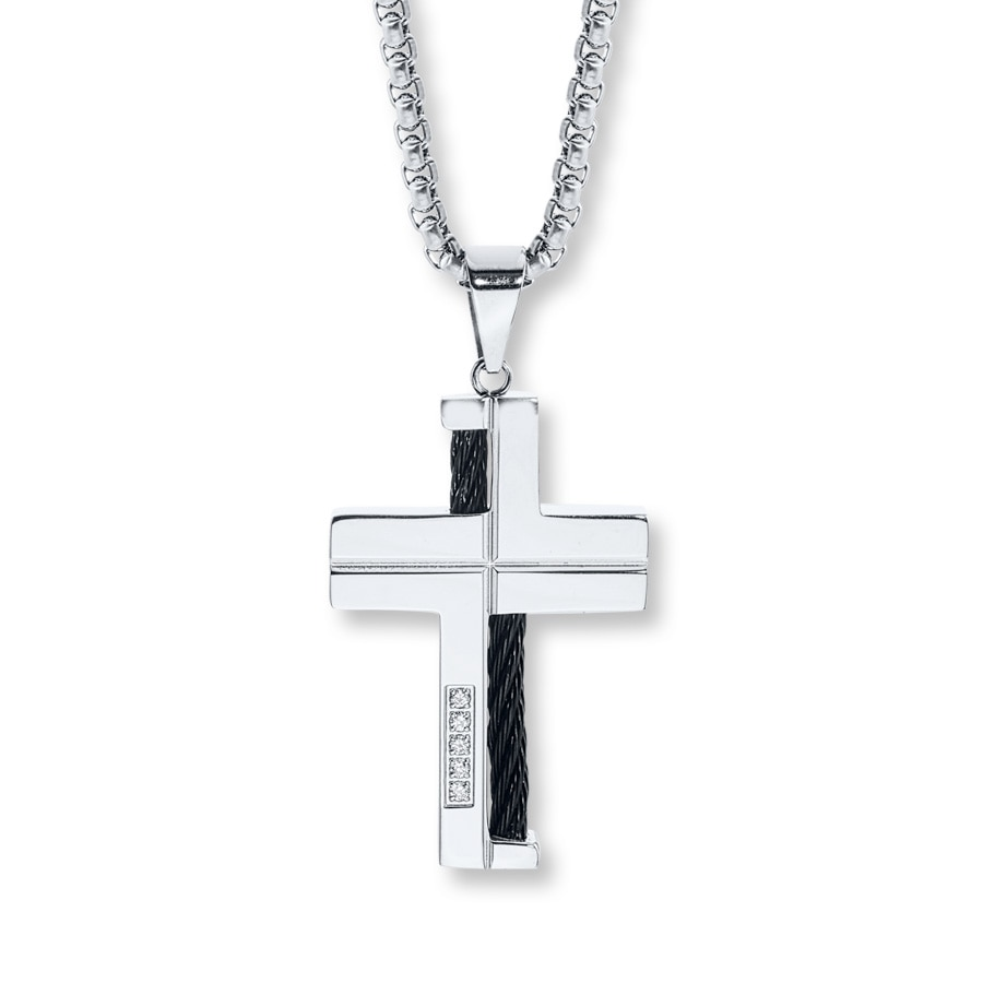 s cross necklace accents stainless steel