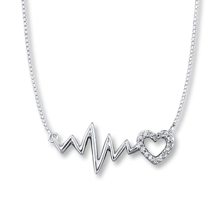 Heartbeat Necklace 1 20 Ct Tw Diamonds Sterling Silver