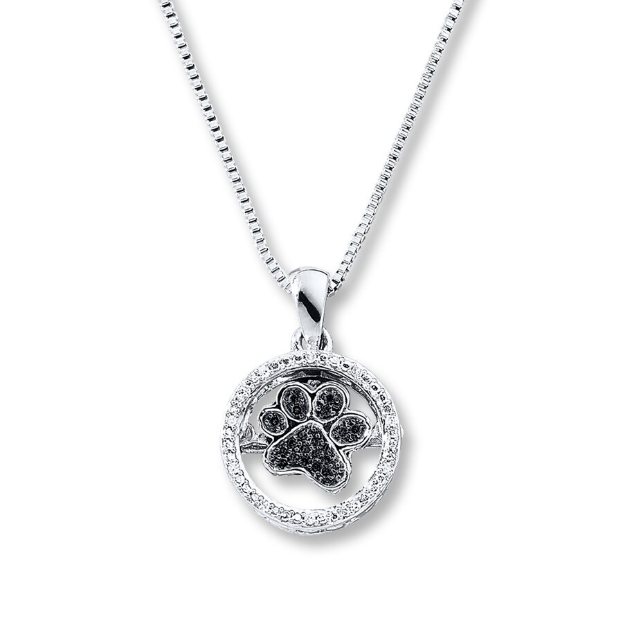 Kay diamonds in rhythm paw print necklace sterling silver hover to zoom aloadofball Gallery