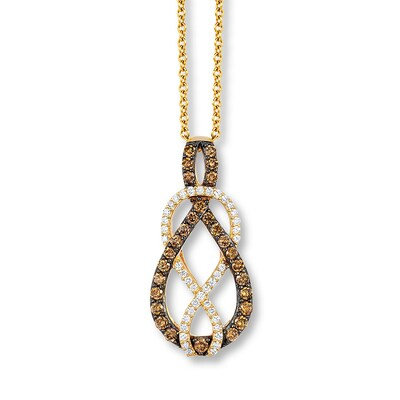 LeVian Chocolate Diamonds 1/2 ct tw Necklace 14K Honey Gold