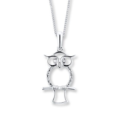 Owl Necklace Diamond Accents Sterling Silver