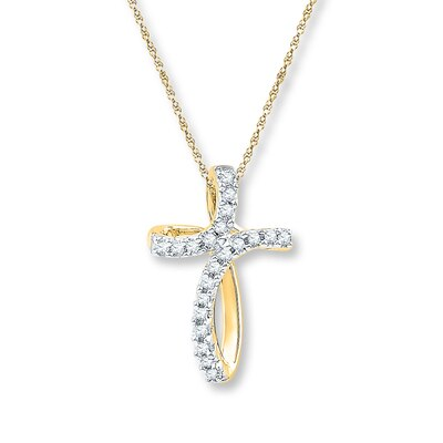 Diamond Cross Necklace 1/15 ct tw Round-cut 10K Yellow Gold
