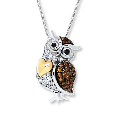 Owl Diamond Necklace 1/6 Carat tw Sterling Silver/10K Gold