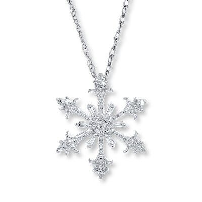 Snowflake Necklace 1/8 ct tw Diamonds 10K White Gold