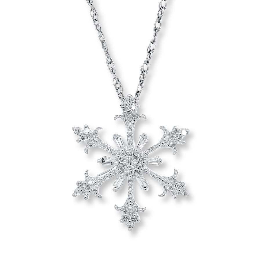 Snowflake Necklace 1 8 Ct Tw Diamonds 10k White Gold