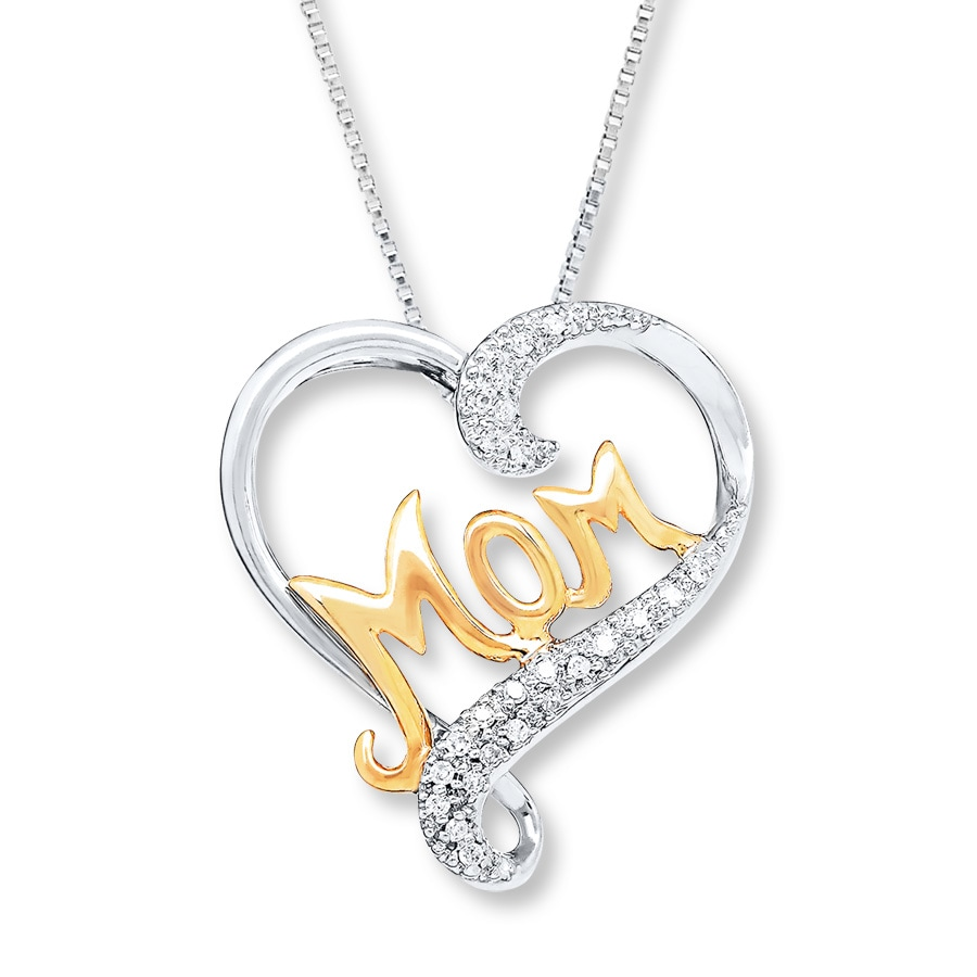 3ba29b71f Mom Necklace 1/20 ct tw Diamonds Sterling Silver/10K Gold. Tap to expand