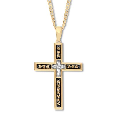 Mens Diamond Cross Necklace 3/8 ct tw 10K Yellow Gold 22""