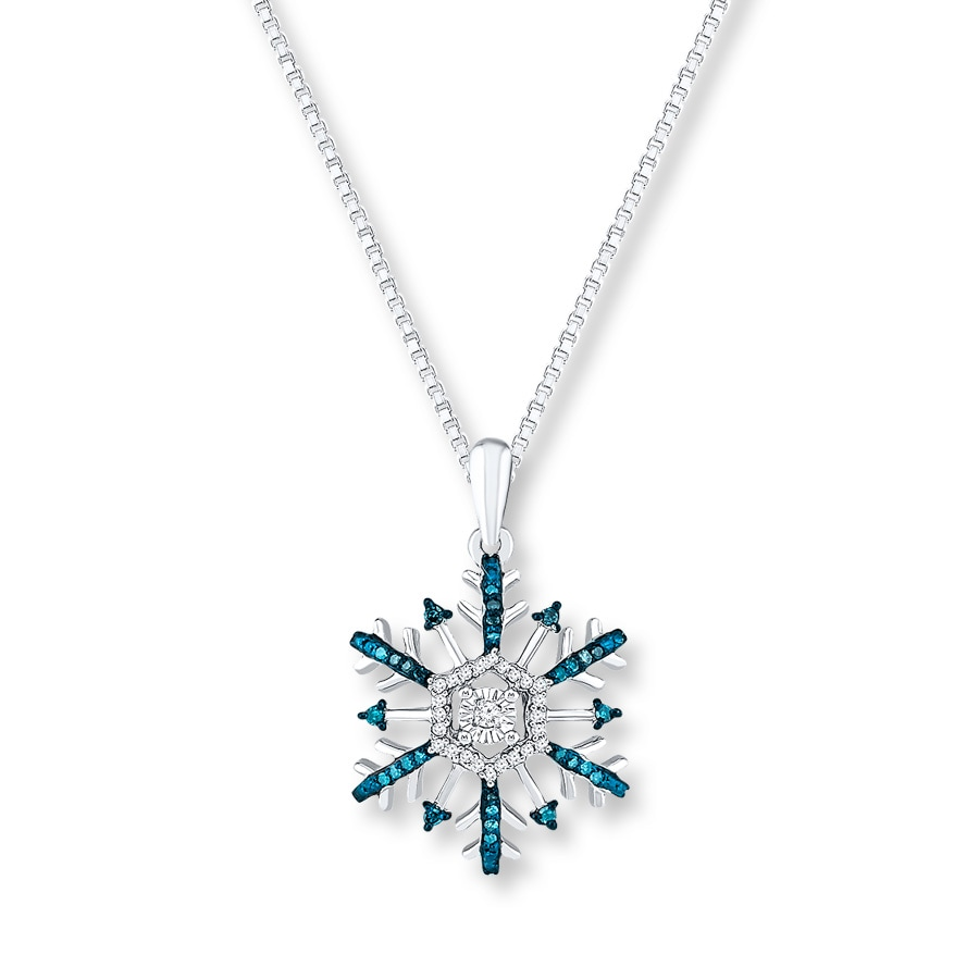 Snowflake Necklace 1 5 Ct Tw Diamonds Sterling Silver