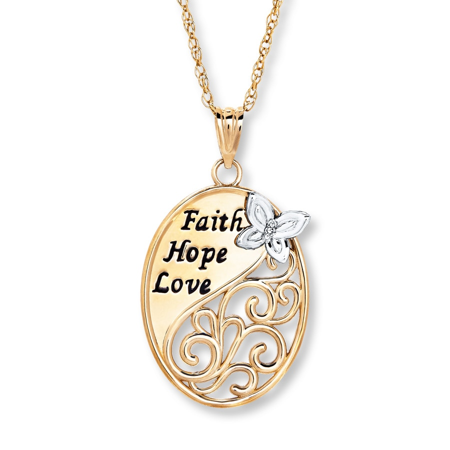 Faith Hope Amp Love Necklace Diamond Accent 10k Two Tone