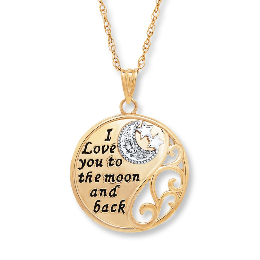 I Love You To The Moon Amp Back Necklace 10k Two Tone Gold