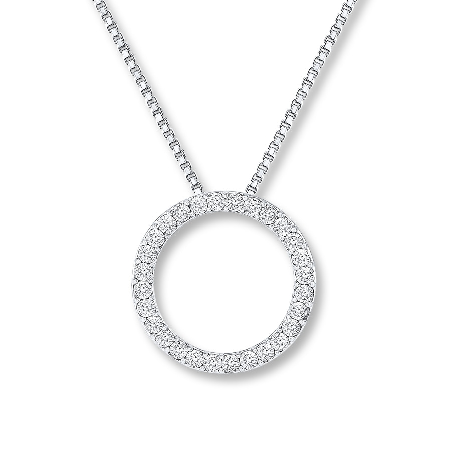 fc99f5c5ac36f Circle Necklace 1/5 ct tw Diamonds 10K White Gold