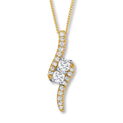 Ever Us Two-Stone Necklace 1 ct tw Diamonds 14K Yellow Gold
