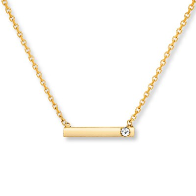 Bar Necklace Diamond Accent 14K Yellow Gold