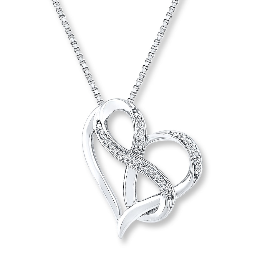 a6e555fcc Heart & Infinity Necklace 1/20 ct tw Diamonds Sterling Silver. Tap to expand