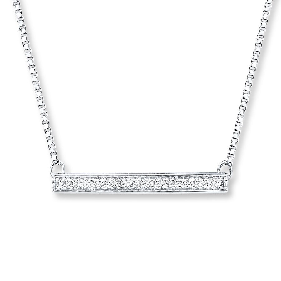 Diamond Bar Necklace 1 10 Ct Tw Round Cut Sterling Silver