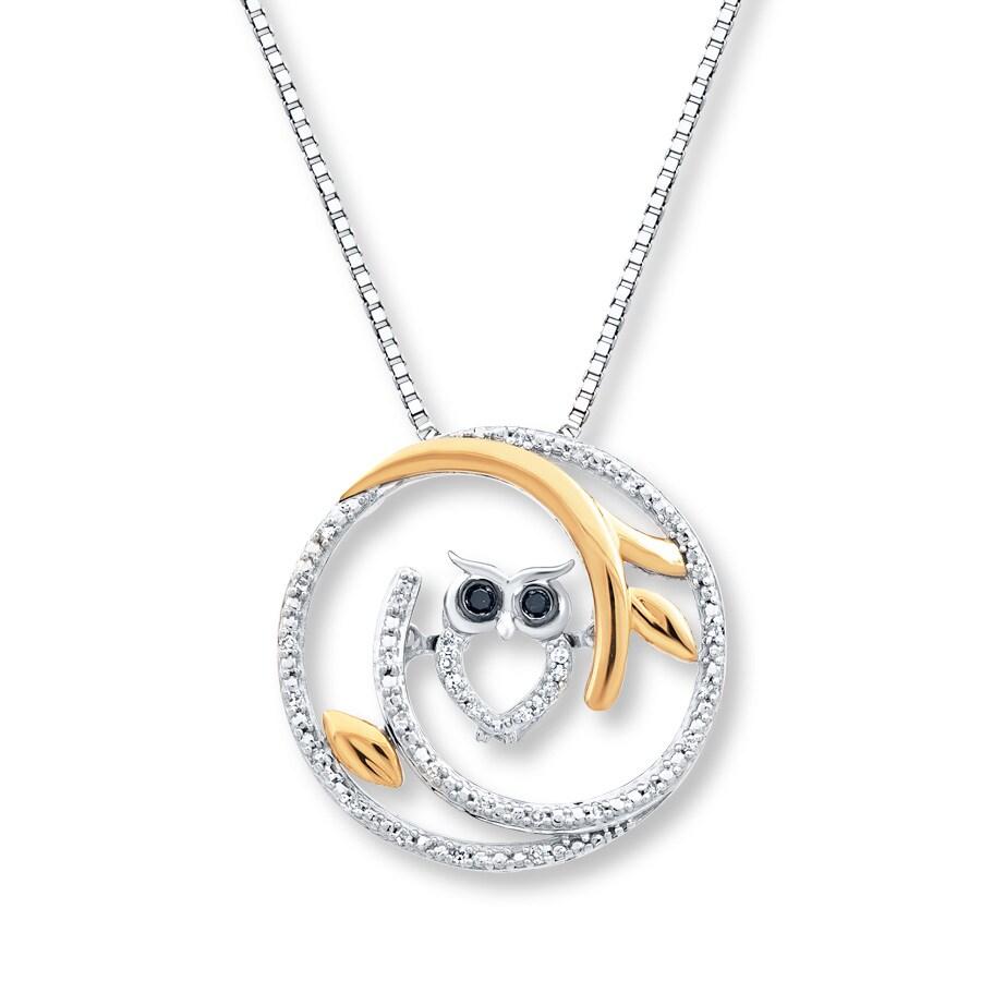 5ae4da0e401f2 Diamond Owl Necklace 1/10 ct tw Sterilng Silver/10K Yellow Gold