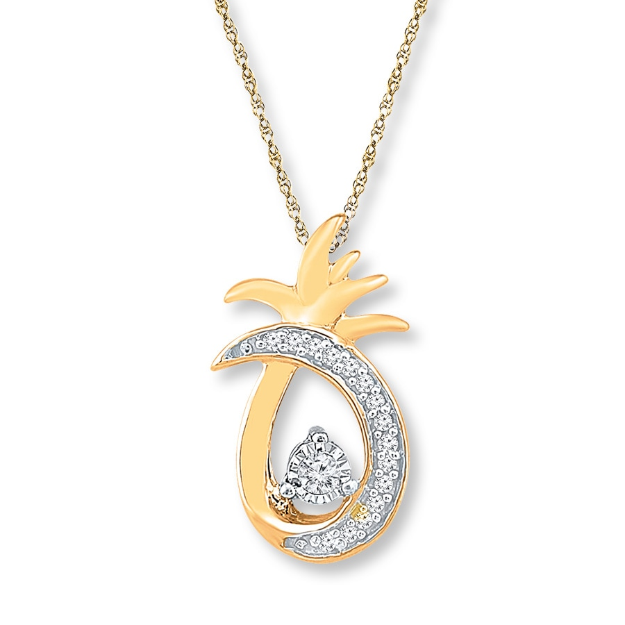 Pineapple Necklace 1 15 Ct Tw Diamonds 10k Yellow Gold
