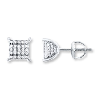 Men S Diamond Earrings 1 4 Ct Tw Round Cut 10k White Gold Mens Earrings Earrings Kay