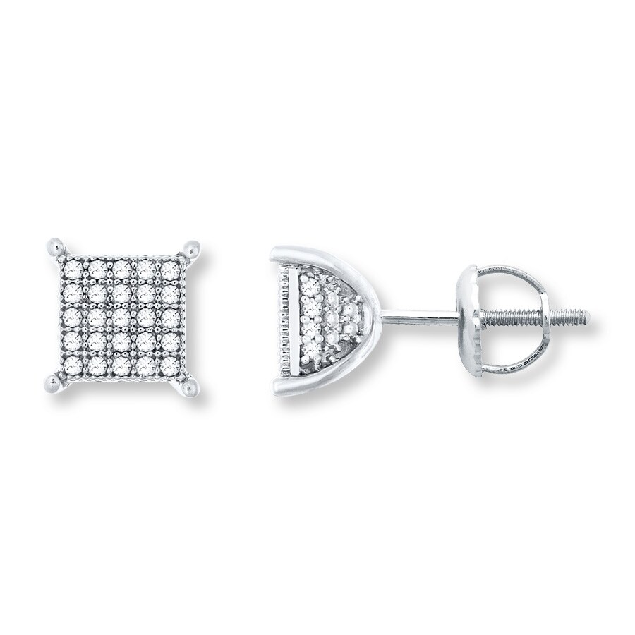 94c3155ec Men's Diamond Earrings 1/4 ct tw Round-cut 10K White Gold ...
