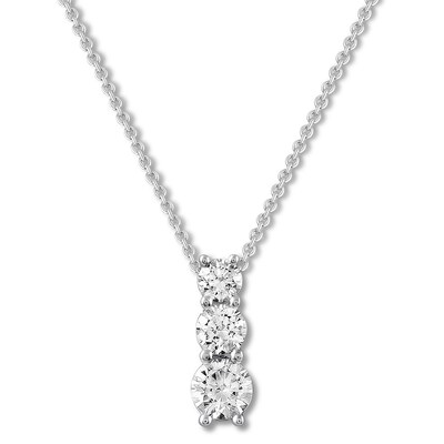 Three-Stone Diamond Necklace 1/2 ct tw Round-cut 10K White Gold