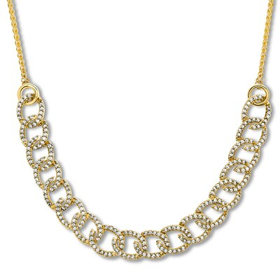 Diamond Link Bolo Necklace 1 ct tw 10K Yellow Gold Adjustable