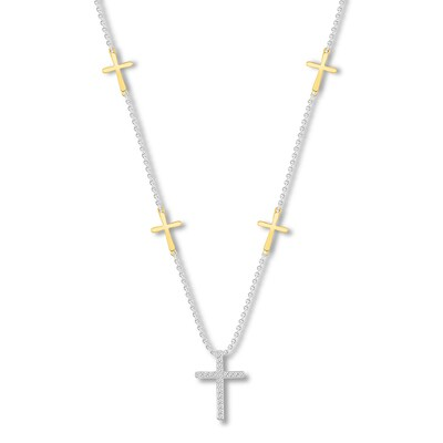 Diamond Cross Necklace 1/10 ct tw Sterling Silver/10K Gold