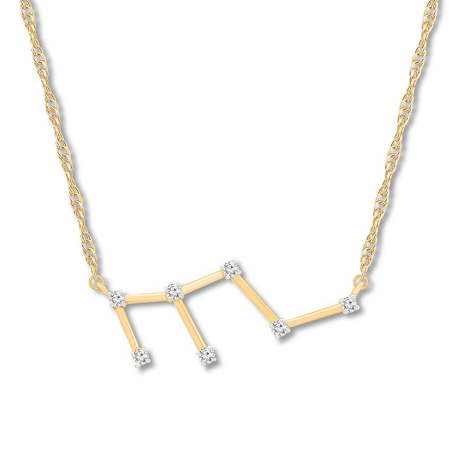 Leo Zodiac Necklace 110 Ct Tw Diamonds 10k Yellow Gold 173920909