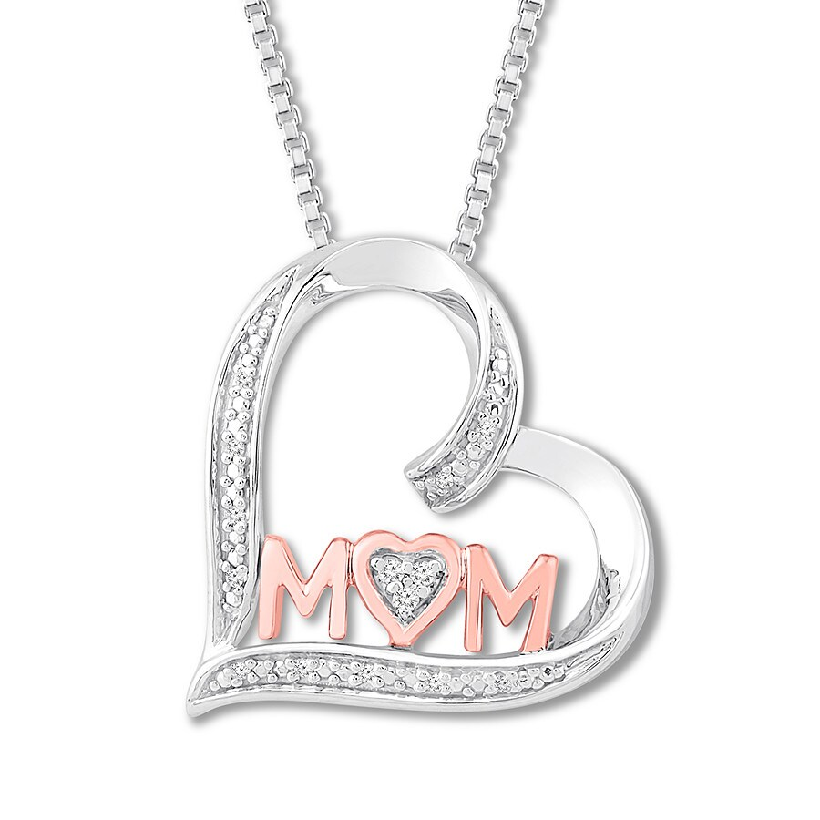 75660e3bf Diamond Mom Heart Necklace 1/20 ct tw Sterling Silver/10K Gold. Tap to  expand