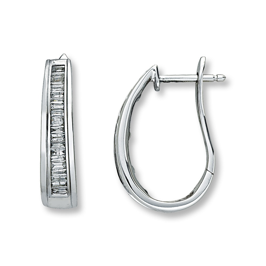 diamond hoop white gold earring products earrings baguette