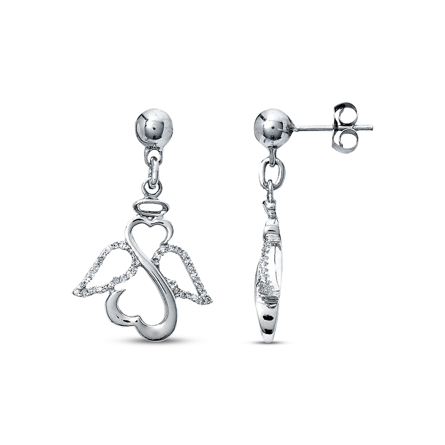 Open Hearts By Jane Seymour Diamond Angel Earrings