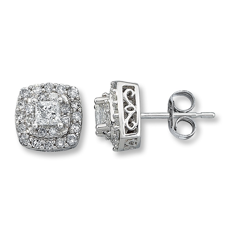 Diamond Earrings 1 Ct Tw Princess Cut 14k White Gold Kay