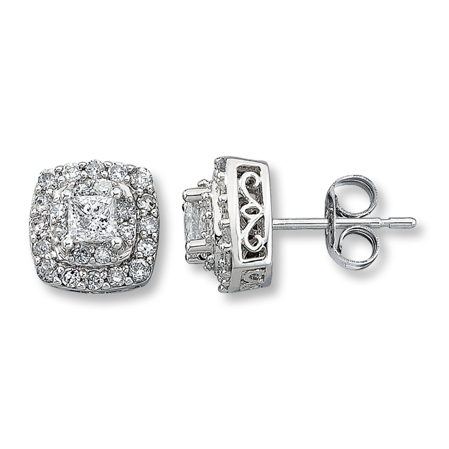 Diamond Earrings 1 Ct Tw Princess Cut 14k White Gold Tap To Expand