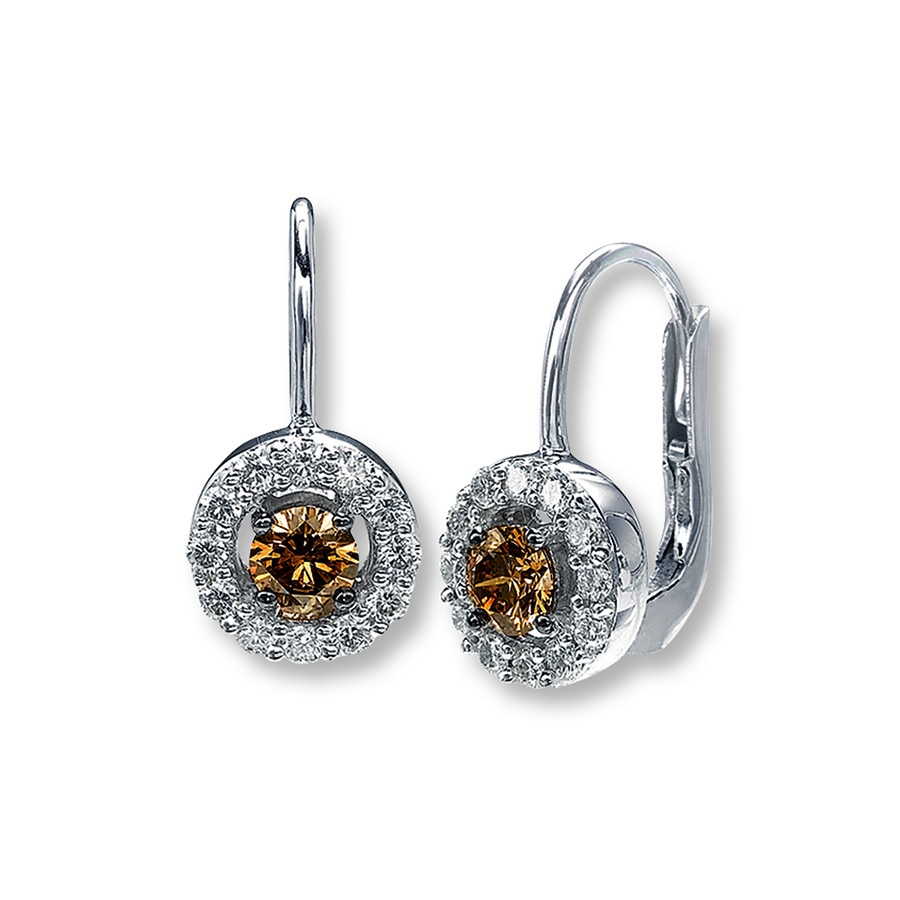 Levian Chocolate Diamonds 7 8 Ct Tw Earrings 14k Vanilla Gold
