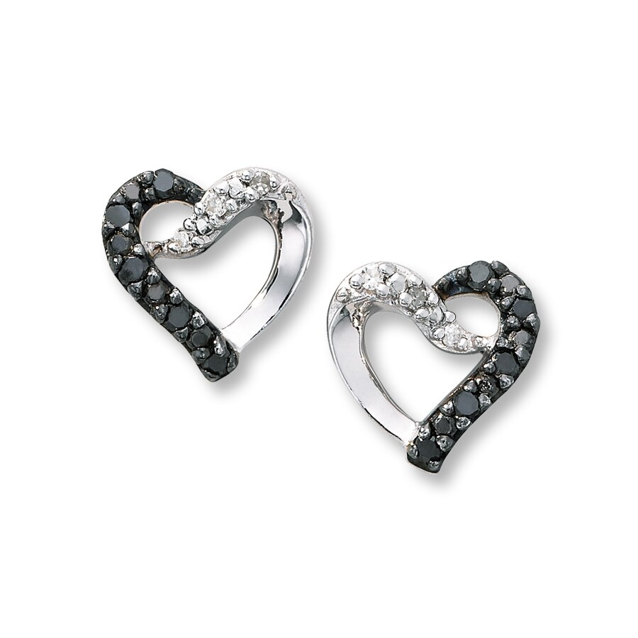 black cttw ct stud gold to in earrings diamond white dp