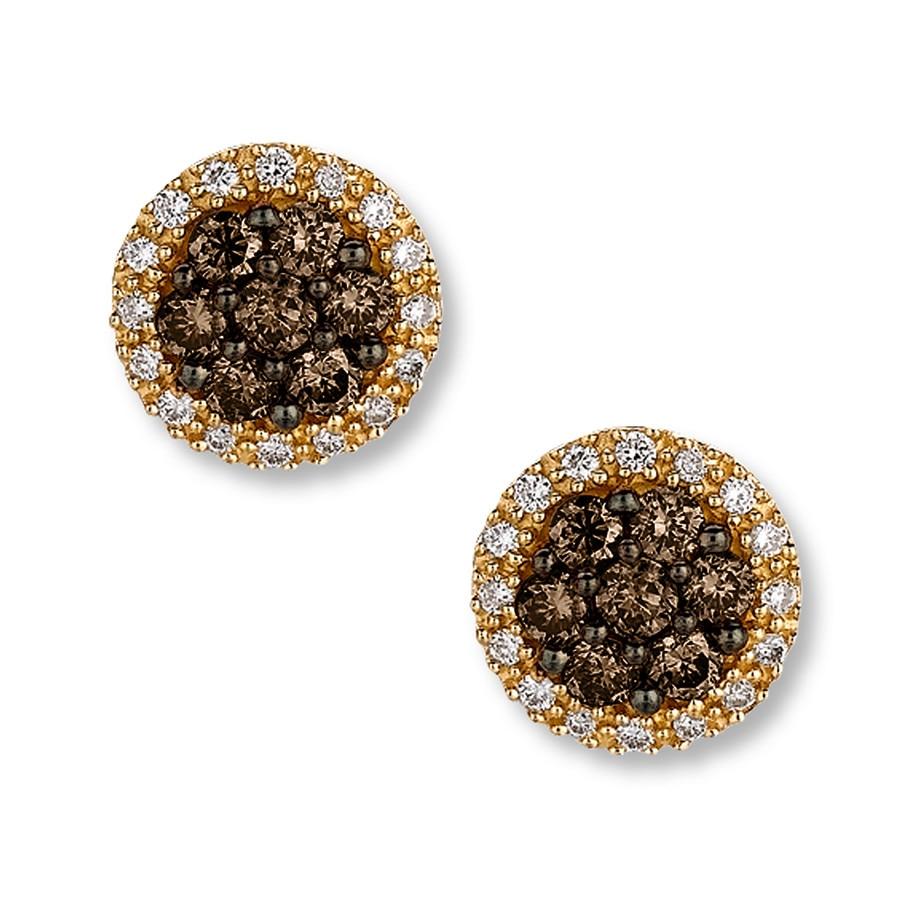 Levian Chocolate Diamonds 5 8 Ct Tw Earrings 14k Honey Gold