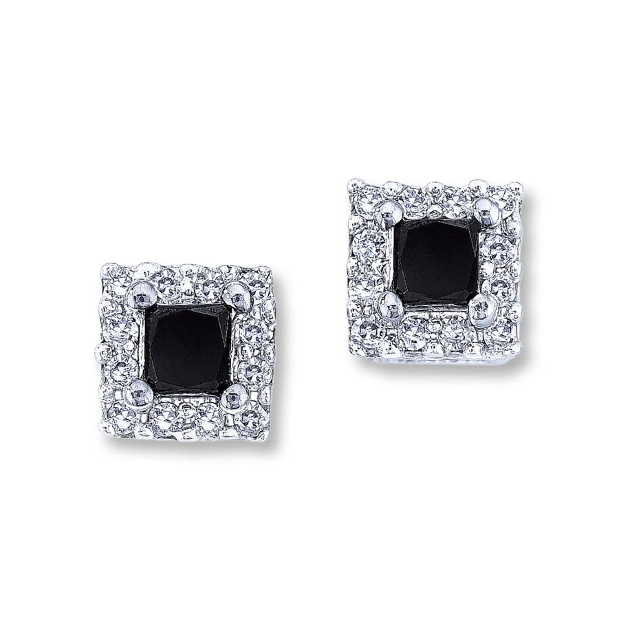 Black Diamond Earrings 1 2 Ct Tw Princess Cut 10k White Gold