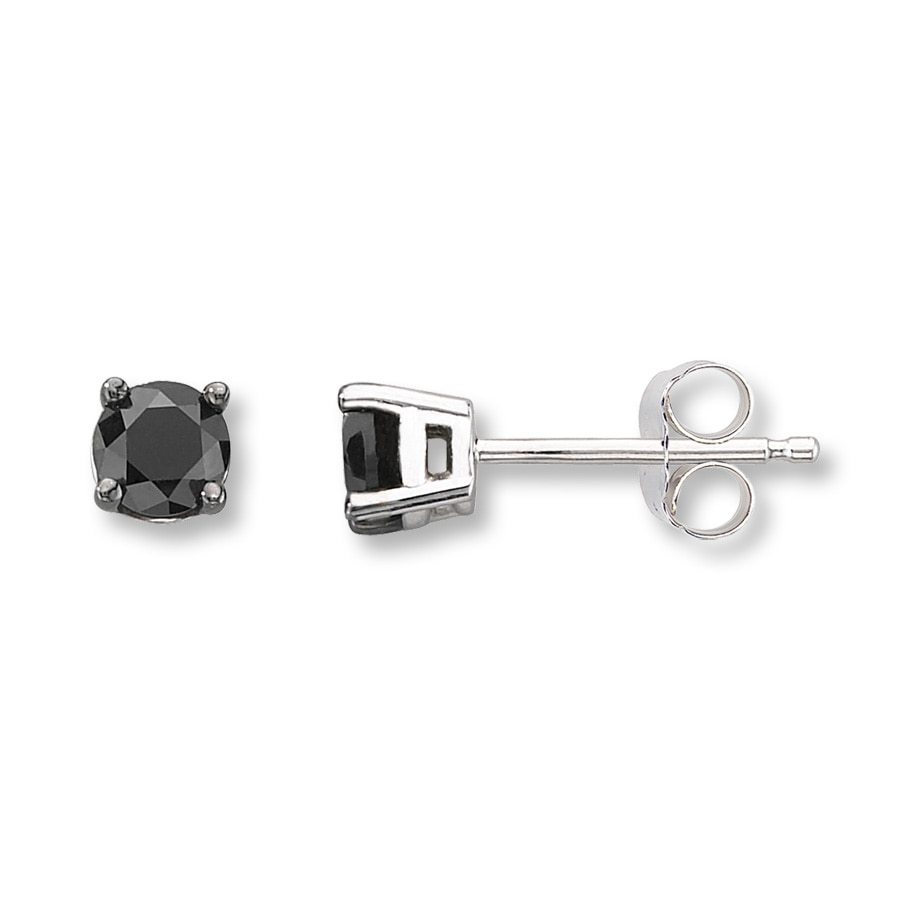 black and sterling earrings diamond silver stud