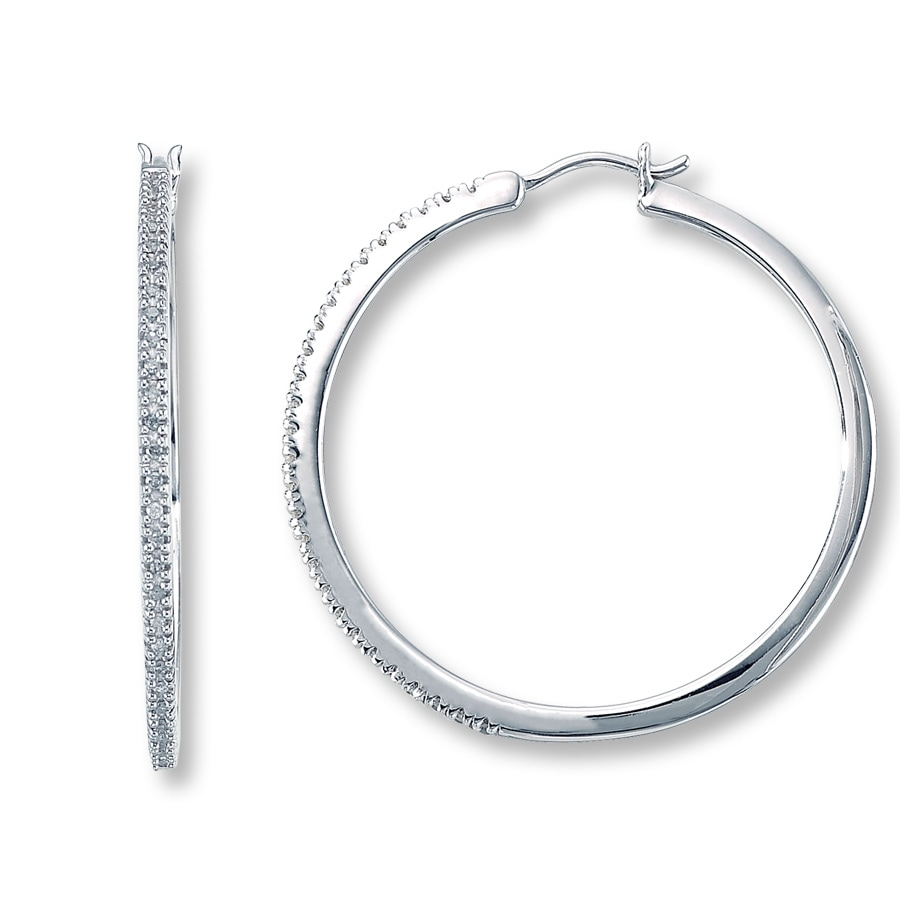 Diamond Hoop Earrings 1 4 Ct Tw Round Cut Sterling Silver
