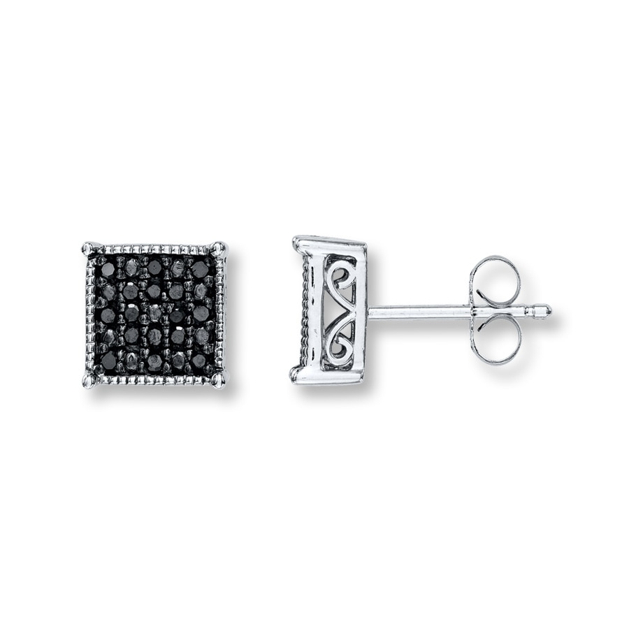 earrings black tw white gold carat diamond p